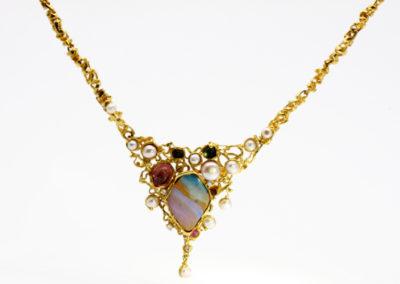Kette, Opal, Turmalin, Perlen, Gold