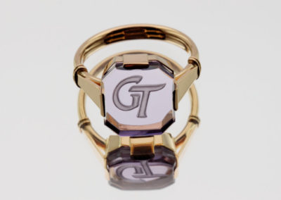 Monogram Ring, Ametyst Gold