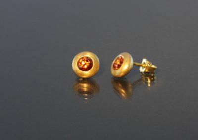 Ohrstecker, Mandarin Granat Gold