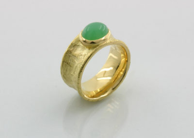 Ring modeliert, Chrysopras Gold