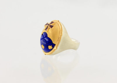 Wappenring, Silber Gold Lapislazuli Rubin